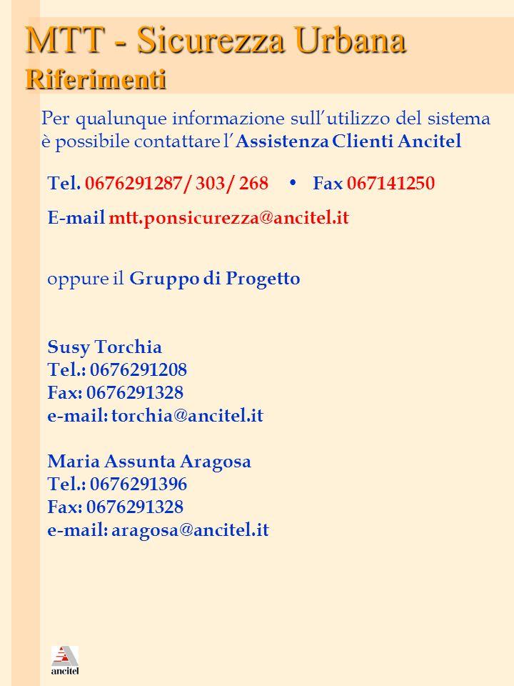 MTT - Sicurezza Urbana Riferimenti oppure il Gruppo di Progetto Susy Torchia Tel.: 0676291208 Fax: 0676291328 e-mail: torchia@ancitel.it Maria Assunta