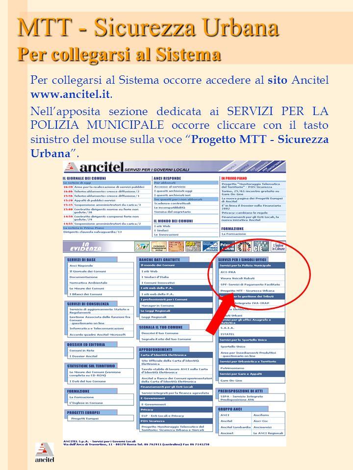 MTT - Sicurezza Urbana Per collegarsi al Sistema Per collegarsi al Sistema occorre accedere al sito Ancitel www.ancitel.it. Nellapposita sezione dedic