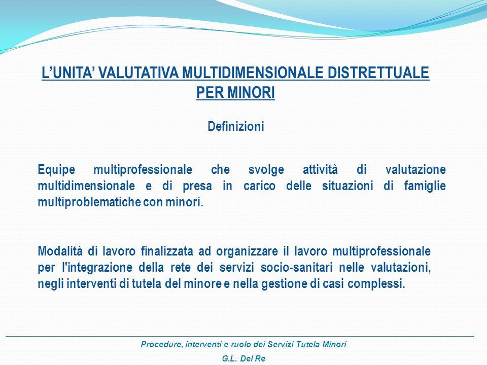 Procedure, interventi e ruolo dei Servizi Tutela Minori G.L. Del Re LUNITA VALUTATIVA MULTIDIMENSIONALE DISTRETTUALE PER MINORI Definizioni Equipe mul