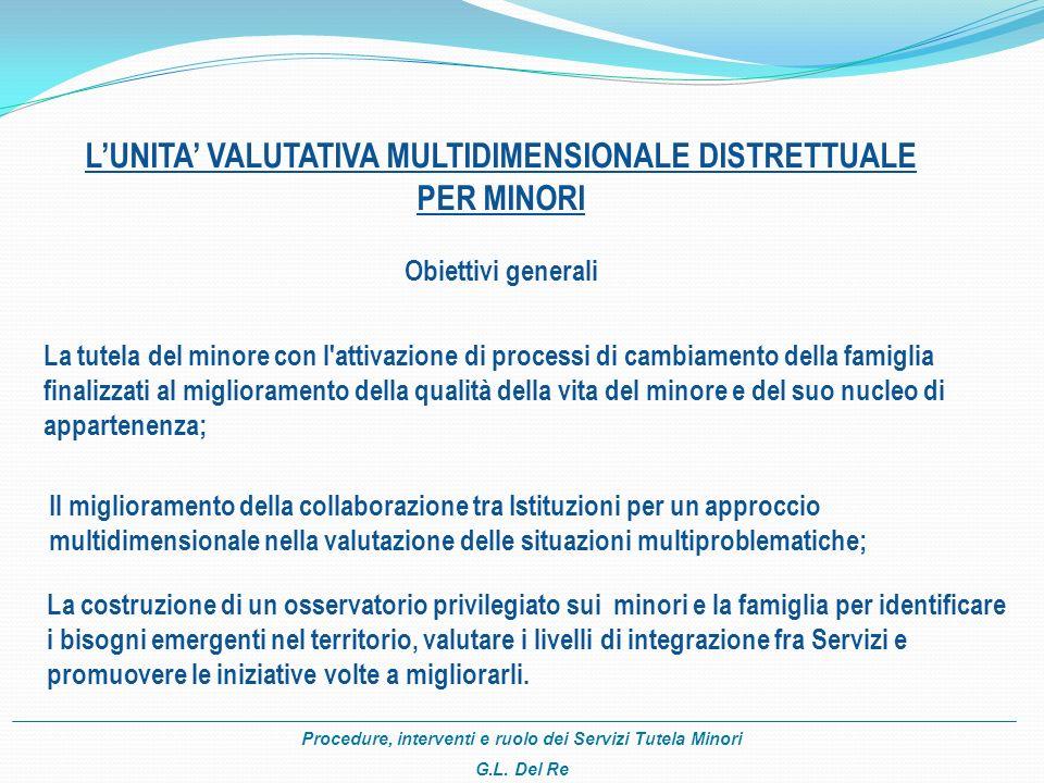 Procedure, interventi e ruolo dei Servizi Tutela Minori G.L. Del Re LUNITA VALUTATIVA MULTIDIMENSIONALE DISTRETTUALE PER MINORI Obiettivi generali La