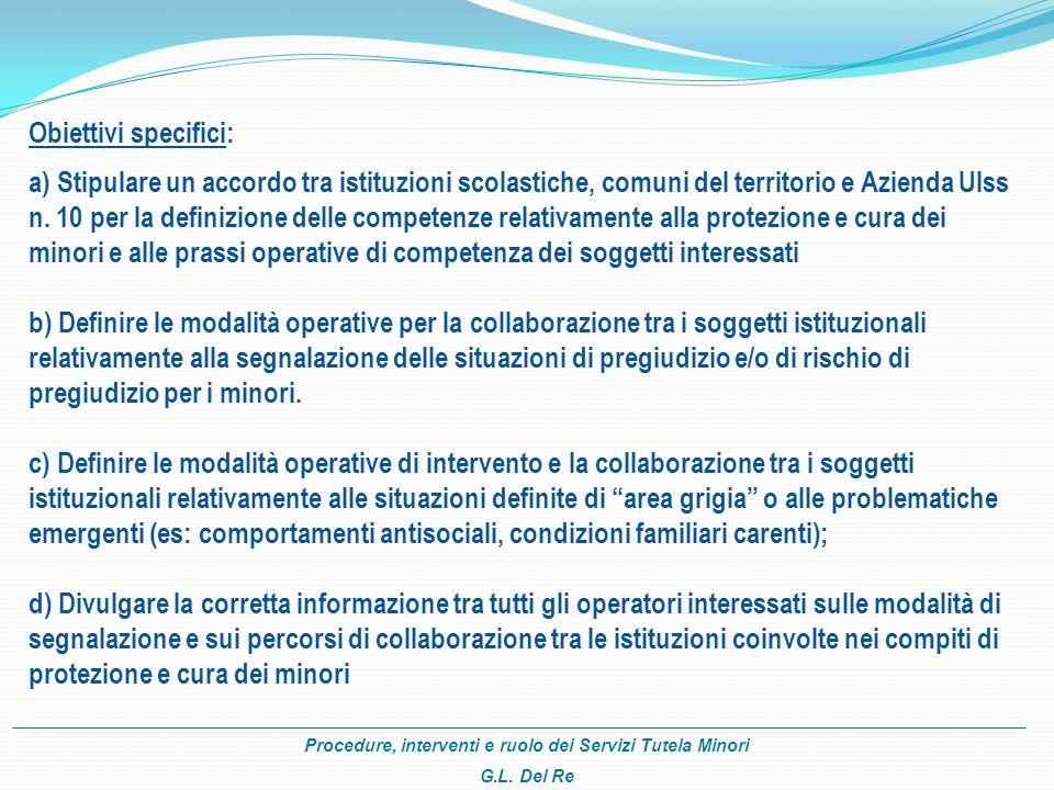 Procedure, interventi e ruolo dei Servizi Tutela Minori G.L. Del Re Obiettivi specifici: a) a) Stipulare un accordo tra istituzioni scolastiche, comun