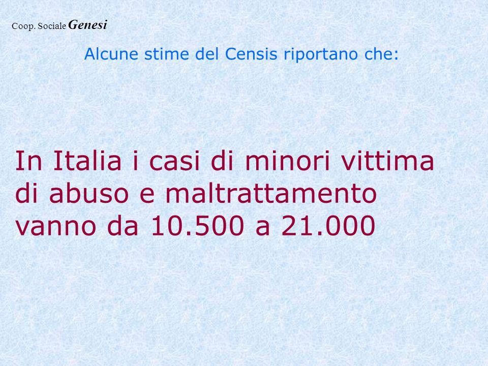 Alcune stime del Censis riportano che: In Italia i casi di minori vittima di abuso e maltrattamento vanno da 10.500 a 21.000 Coop. Sociale Genesi