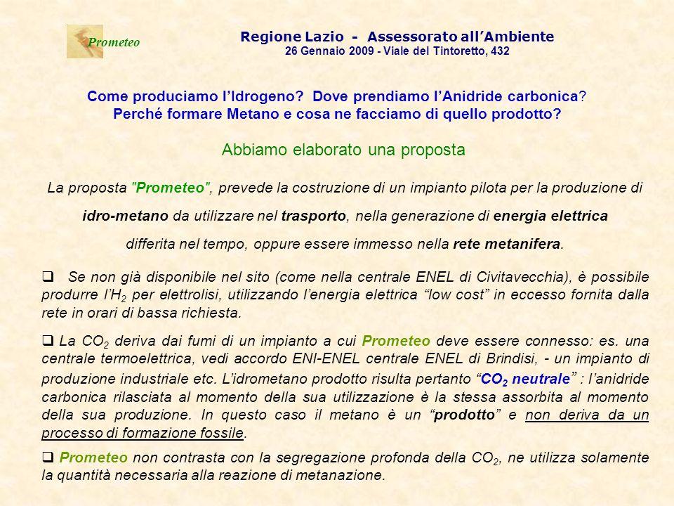 . Prometeo Regione Lazio - Assessorato allAmbiente 26 Gennaio 2009 - Viale del Tintoretto, 432 Come produciamo lIdrogeno? Dove prendiamo lAnidride car