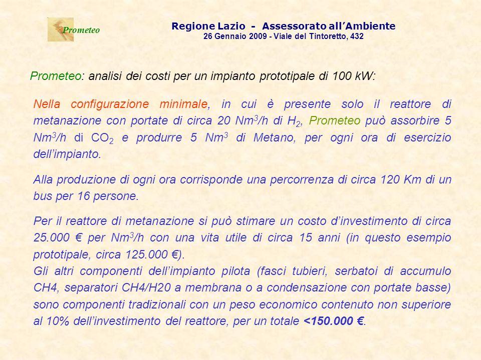 . Prometeo Regione Lazio - Assessorato allAmbiente 26 Gennaio 2009 - Viale del Tintoretto, 432 Per il reattore di metanazione si può stimare un costo