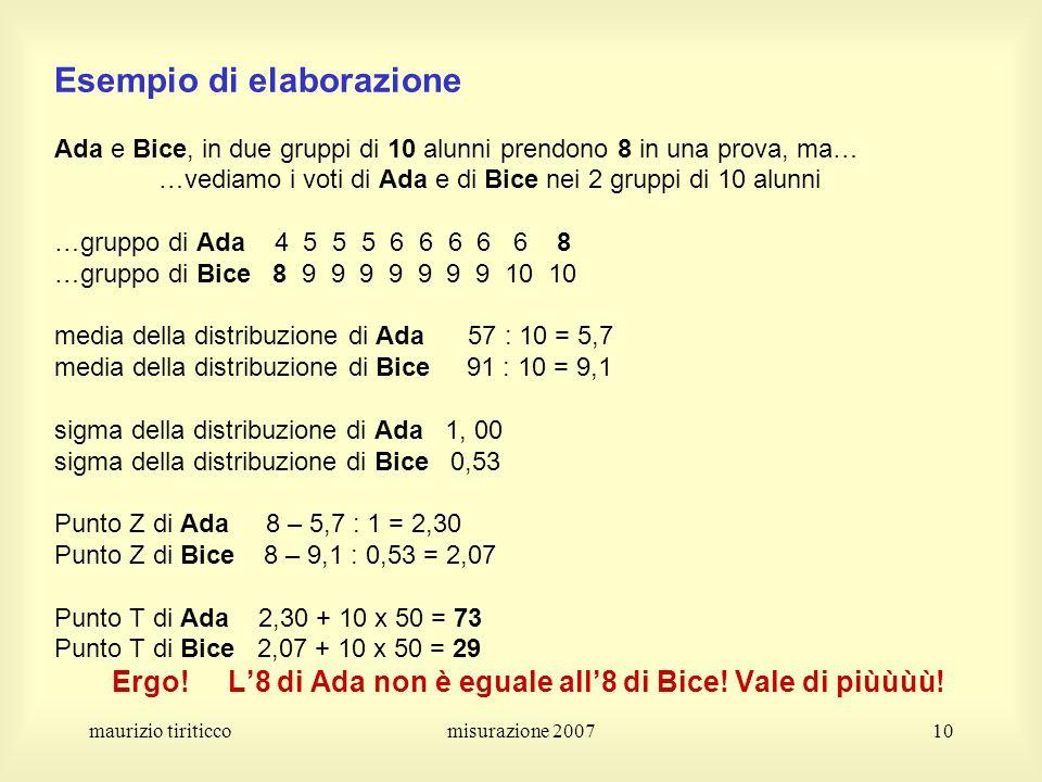 maurizio tiriticcomisurazione 200710 Esempio di elaborazione Ada e Bice, in due gruppi di 10 alunni prendono 8 in una prova, ma… …vediamo i voti di Ad