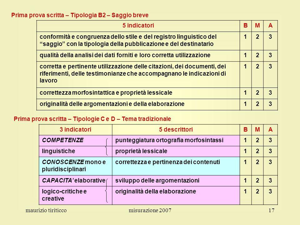 maurizio tiriticcomisurazione 200717 Prima prova scritta – Tipologia B2 – Saggio breve 5 indicatoriBMA conformità e congruenza dello stile e del regis