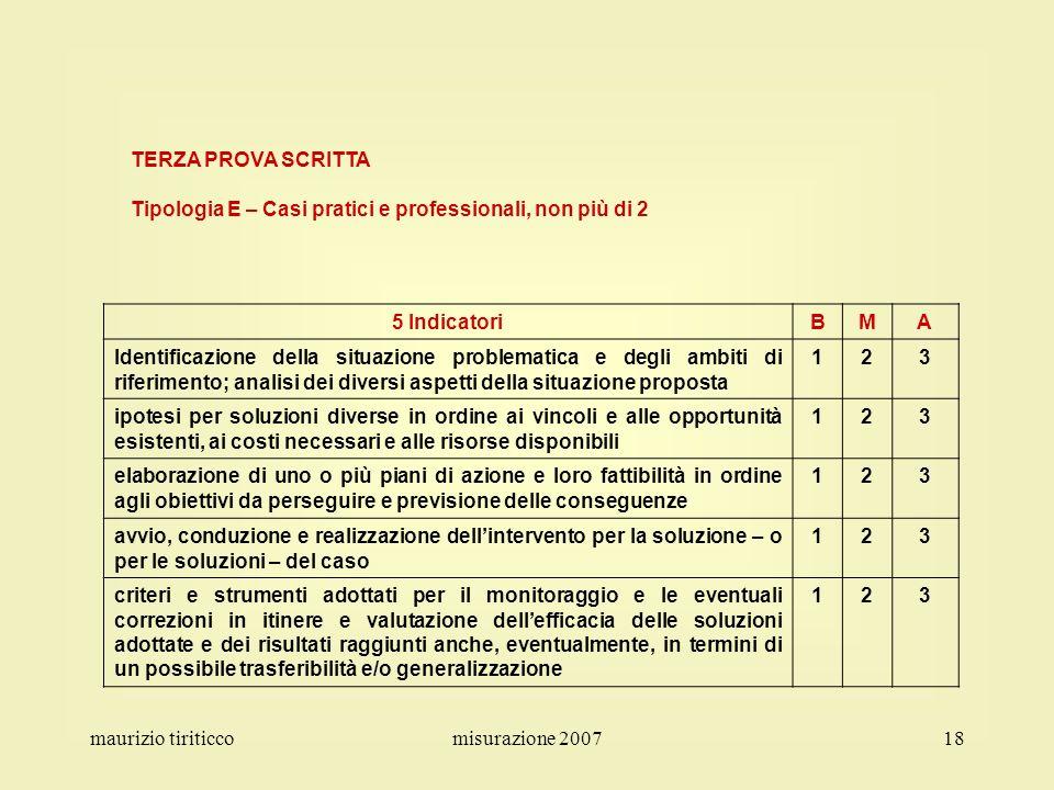 maurizio tiriticcomisurazione 200718 TERZA PROVA SCRITTA Tipologia E – Casi pratici e professionali, non più di 2 5 IndicatoriBMA Identificazione dell