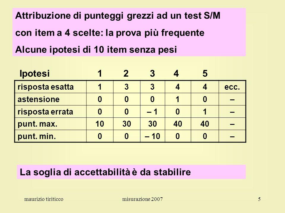 maurizio tiriticcomisurazione 20075 Attribuzione di punteggi grezzi ad un test S/M con item a 4 scelte: la prova più frequente Alcune ipotesi di 10 it
