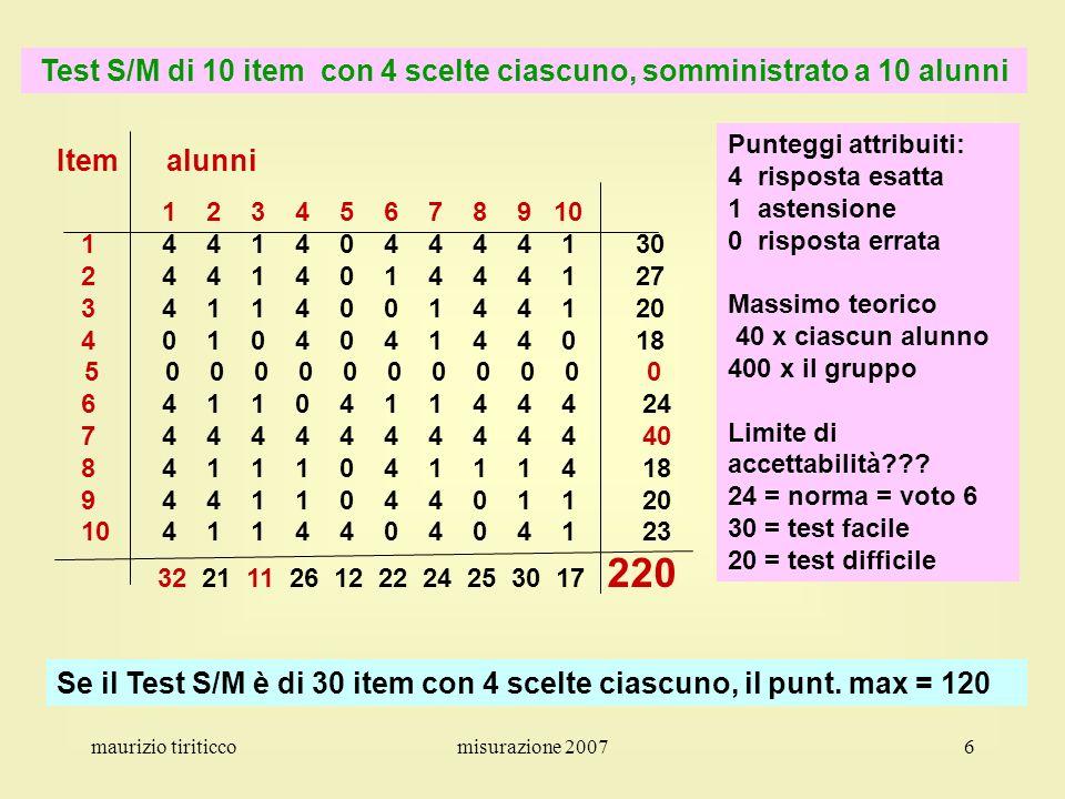 maurizio tiriticcomisurazione 20077 La misurazione – Punteggi relativi a due prove oggettive attribuzione di punteggi grezzi alle prove punteggio da 1 a….