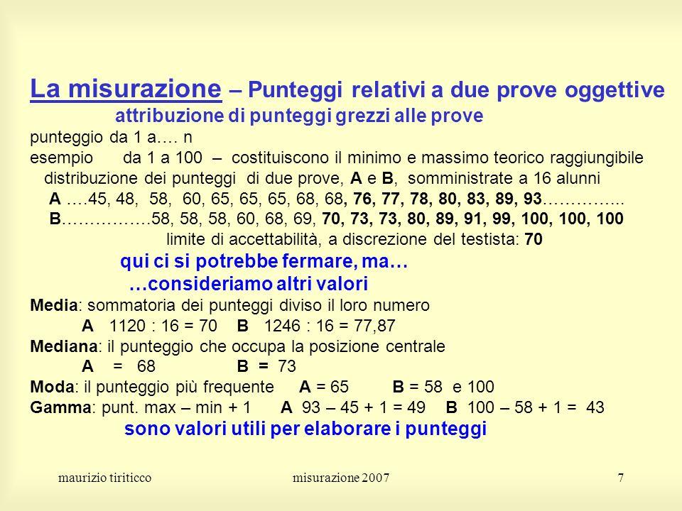 maurizio tiriticcomisurazione 20077 La misurazione – Punteggi relativi a due prove oggettive attribuzione di punteggi grezzi alle prove punteggio da 1