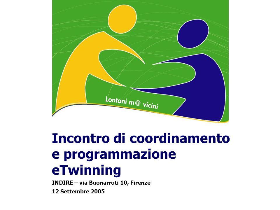 Incontro di coordinamento e programmazione eTwinning INDIRE – via Buonarroti 10, Firenze 12 Settembre 2005