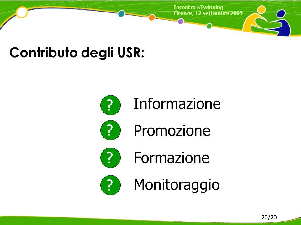 Contributo degli USR: Informazione Promozione Formazione Monitoraggio .