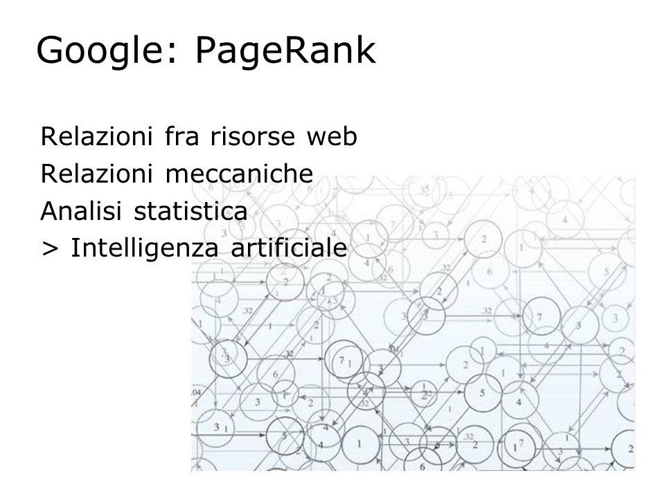 Google: PageRank Relazioni fra risorse web Relazioni meccaniche Analisi statistica > Intelligenza artificiale