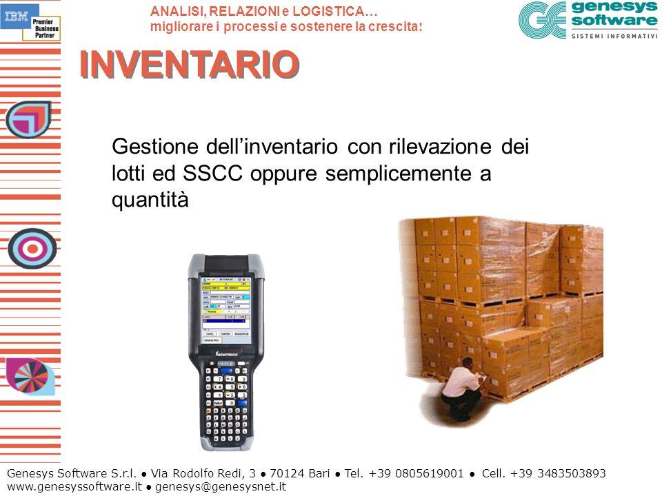 Genesys Software S.r.l. Via Rodolfo Redi, 3 70124 Bari Tel. +39 0805619001 Cell. +39 3483503893 www.genesyssoftware.it genesys@genesysnet.it INVENTARI