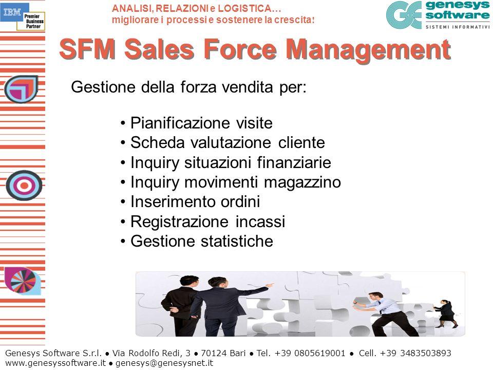 Genesys Software S.r.l. Via Rodolfo Redi, 3 70124 Bari Tel. +39 0805619001 Cell. +39 3483503893 www.genesyssoftware.it genesys@genesysnet.it SFM Sales