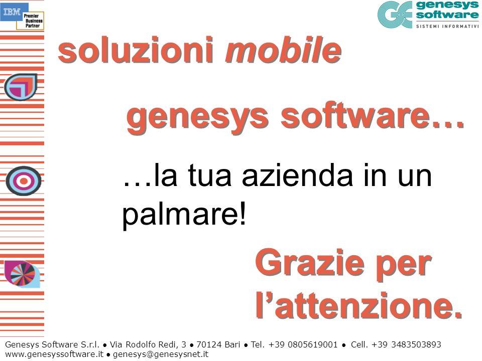 Genesys Software S.r.l. Via Rodolfo Redi, 3 70124 Bari Tel. +39 0805619001 Cell. +39 3483503893 www.genesyssoftware.it genesys@genesysnet.it soluzioni