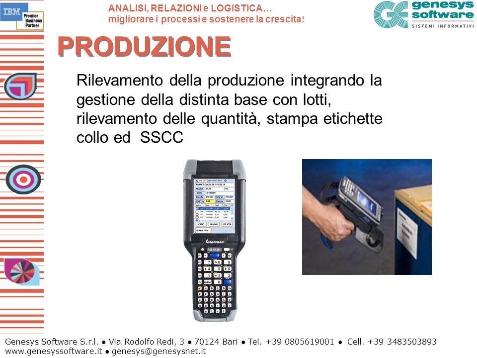 Genesys Software S.r.l. Via Rodolfo Redi, 3 70124 Bari Tel. +39 0805619001 Cell. +39 3483503893 www.genesyssoftware.it genesys@genesysnet.it PRODUZION
