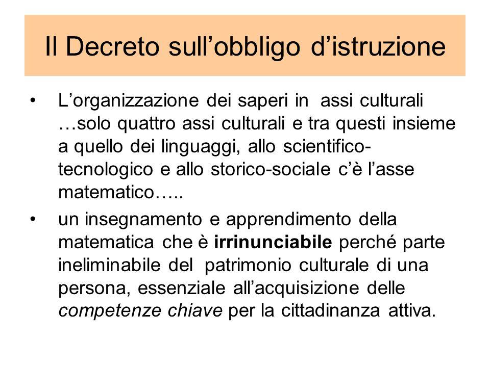 Il Decreto sullobbligo distruzione Lorganizzazione dei saperi in assi culturali …solo quattro assi culturali e tra questi insieme a quello dei linguag