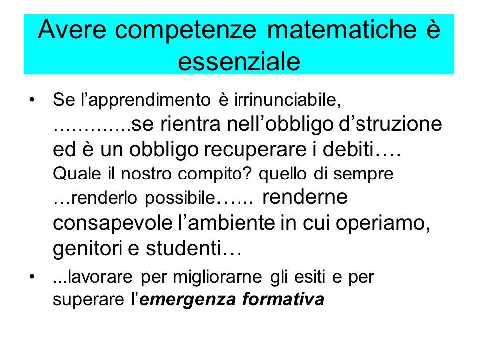 Avere competenze matematiche è essenziale Se lapprendimento è irrinunciabile, ………….