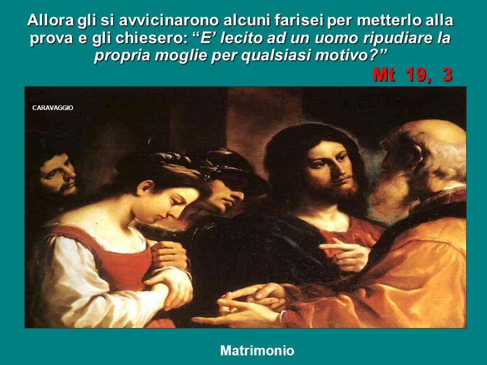Ed egli rispose: Non avete letto che il Creatore da principio li creò maschio e femmina e disse: J.