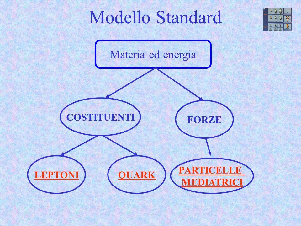 Modello Standard PARTICELLE MEDIATRICI Materia ed energia COSTITUENTI FORZE LEPTONIQUARK