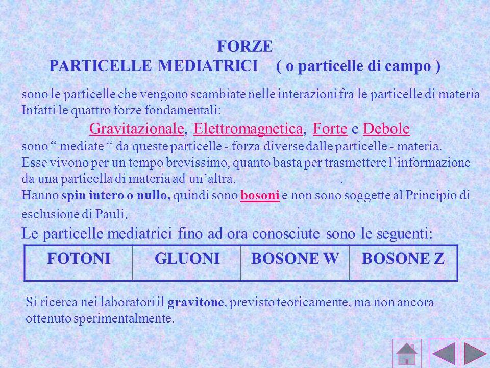 sono le particelle che vengono scambiate nelle interazioni fra le particelle di materia Infatti le quattro forze fondamentali: Gravitazionale, Elettromagnetica, Forte e Debole sono mediate da queste particelle - forza diverse dalle particelle - materia.