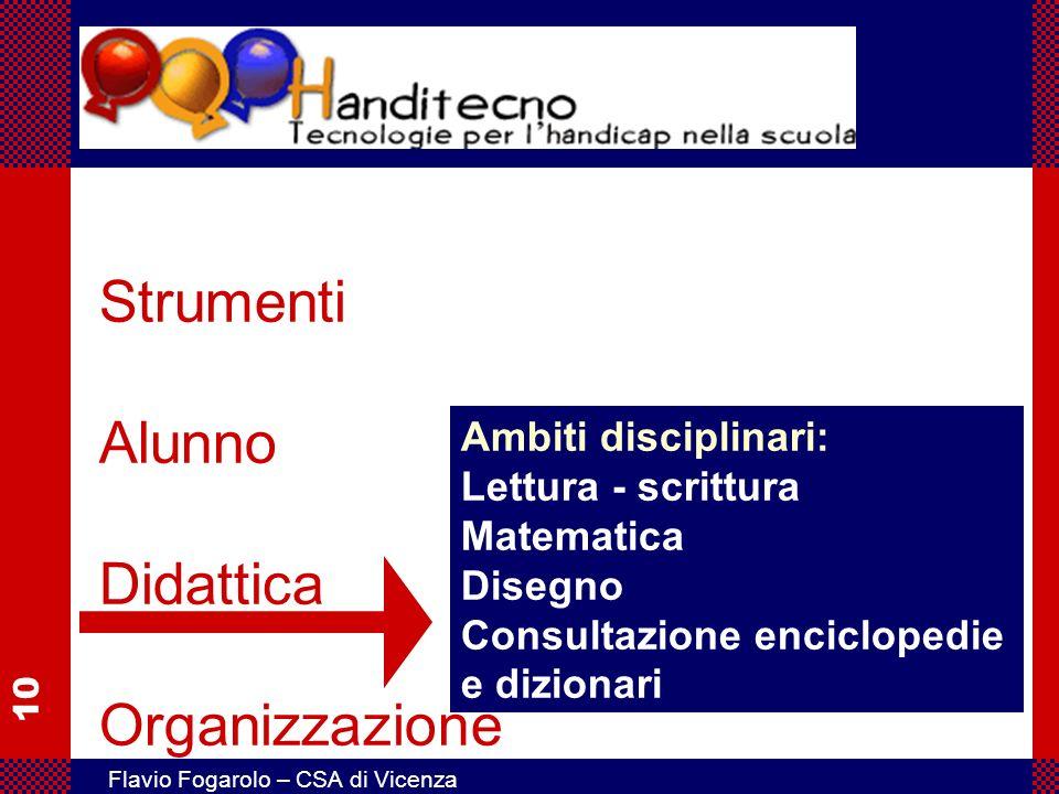 10 Flavio Fogarolo – CSA di Vicenza Strumenti Alunno Didattica Organizzazione Ambiti disciplinari: Lettura - scrittura Matematica Disegno Consultazion