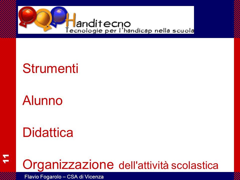 11 Flavio Fogarolo – CSA di Vicenza Strumenti Alunno Didattica Organizzazione dell'attività scolastica