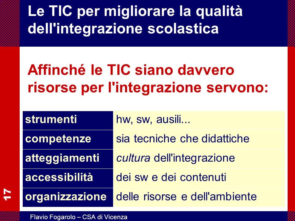 17 Flavio Fogarolo – CSA di Vicenza Le TIC per migliorare la qualità dell'integrazione scolastica Affinché le TIC siano davvero risorse per l'integraz
