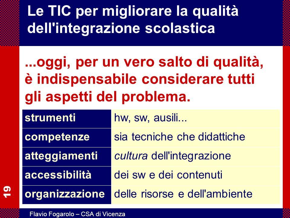 19 Flavio Fogarolo – CSA di Vicenza Le TIC per migliorare la qualità dell'integrazione scolastica...oggi, per un vero salto di qualità, è indispensabi