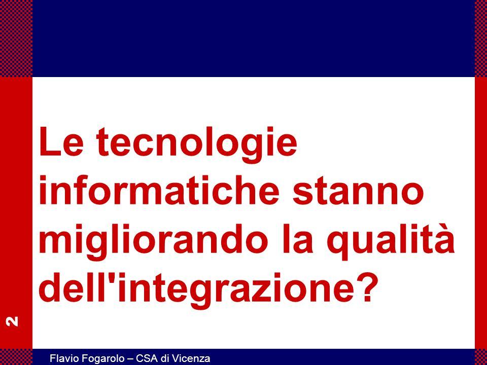 2 Flavio Fogarolo – CSA di Vicenza Le tecnologie informatiche stanno migliorando la qualità dell'integrazione?