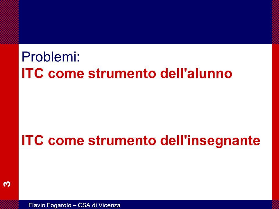 4 Flavio Fogarolo – CSA di Vicenza Problemi: ITC come strumento dell alunno ITC come strumento dell insegnante approccio protesico – sanitario approccio tecnicistico scarsa accessibilità