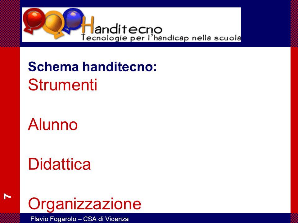 8 Flavio Fogarolo – CSA di Vicenza Strumenti Alunno Didattica Organizzazione Ausili per l accesso Adattamenti del computer in base alla esigenze dell utente La postazione di lavoro