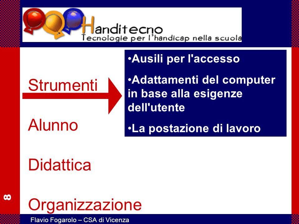 8 Flavio Fogarolo – CSA di Vicenza Strumenti Alunno Didattica Organizzazione Ausili per l'accesso Adattamenti del computer in base alla esigenze dell'