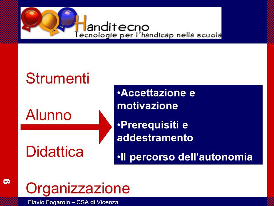 9 Flavio Fogarolo – CSA di Vicenza Strumenti Alunno Didattica Organizzazione Accettazione e motivazione Prerequisiti e addestramento Il percorso dell'