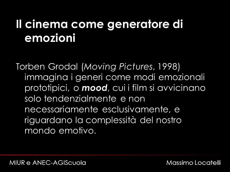 Il cinema come generatore di emozioni Torben Grodal (Moving Pictures, 1998) immagina i generi come modi emozionali prototipici, o mood, cui i film si