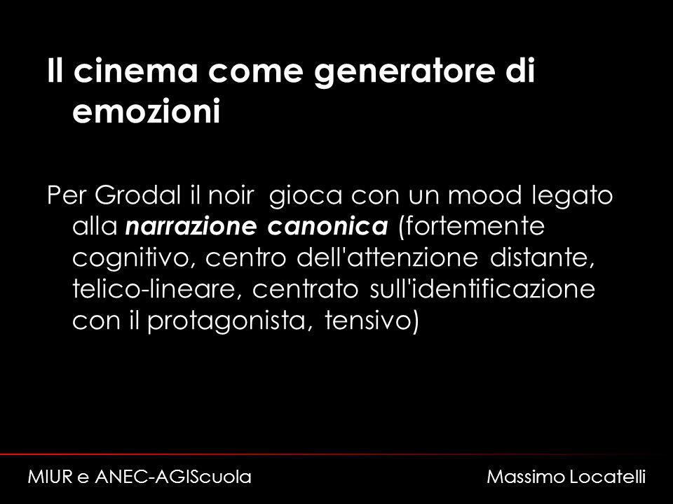 Il cinema come generatore di emozioni Per Grodal il noir gioca con un mood legato alla narrazione canonica (fortemente cognitivo, centro dell'attenzio