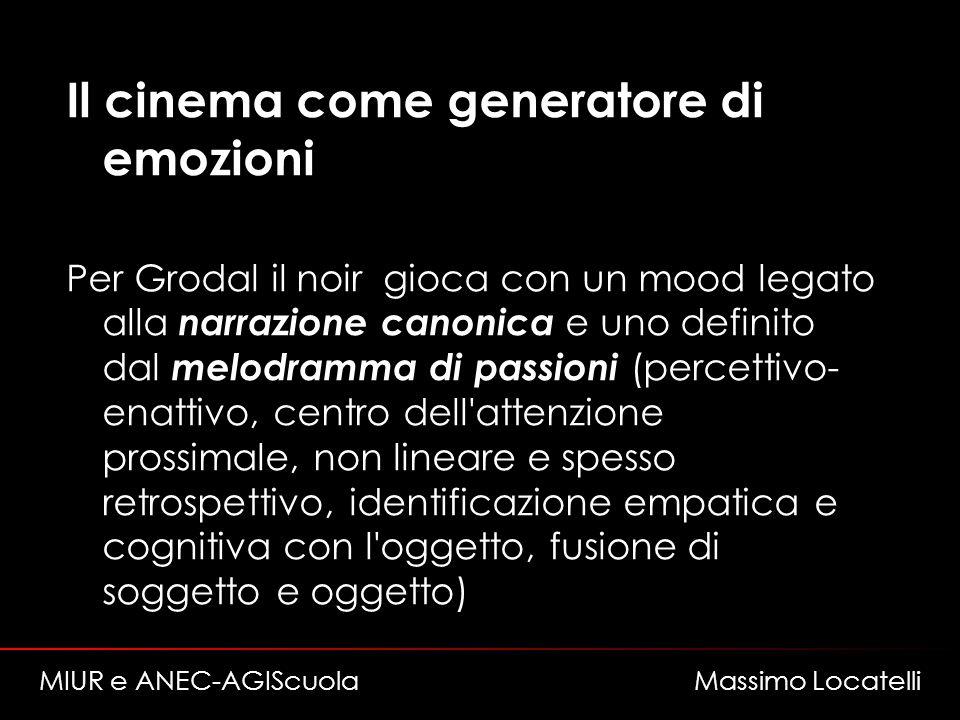 Il cinema come generatore di emozioni Per Grodal il noir gioca con un mood legato alla narrazione canonica e uno definito dal melodramma di passioni (