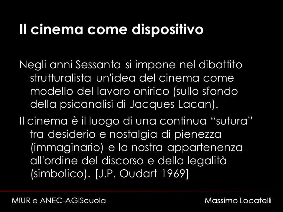 Il cinema come dispositivo Negli anni Sessanta si impone nel dibattito strutturalista un'idea del cinema come modello del lavoro onirico (sullo sfondo