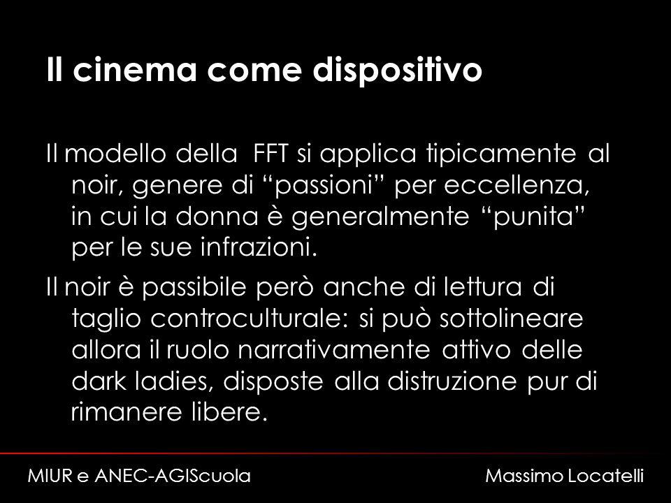 Il cinema come dispositivo Il modello della FFT si applica tipicamente al noir, genere di passioni per eccellenza, in cui la donna è generalmente puni