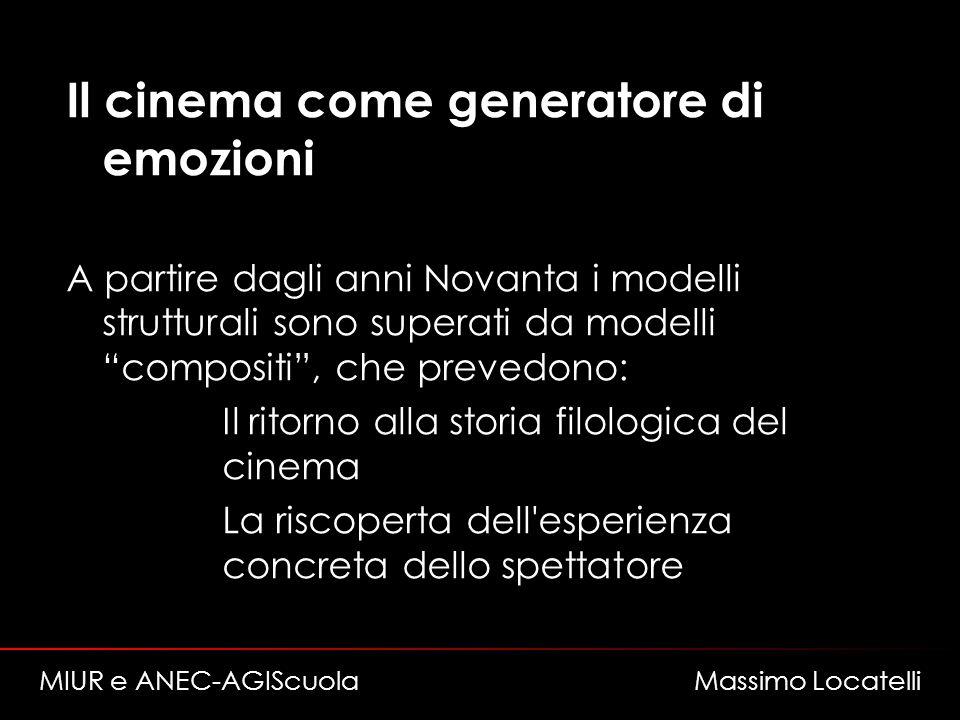 Il cinema come generatore di emozioni A partire dagli anni Novanta i modelli strutturali sono superati da modelli compositi, che prevedono: – Il ritor