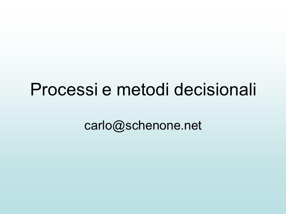 Metodi decisionali Metodi impliciti –Decisione per omissione Io vado al mare.