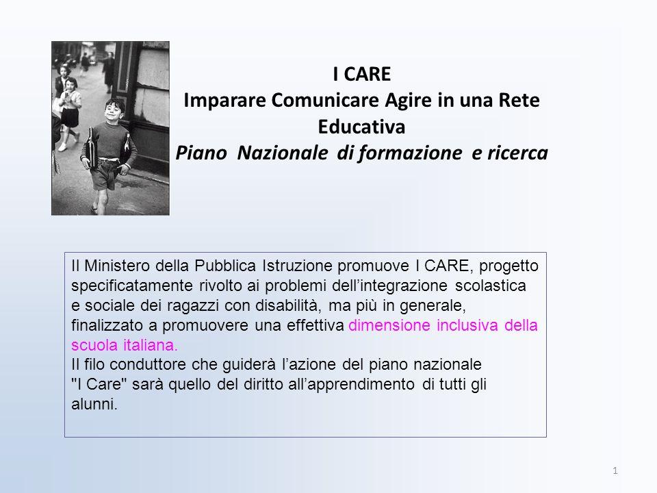 I CARE Imparare Comunicare Agire in una Rete Educativa Piano Nazionale di formazione e ricerca 1 Il Ministero della Pubblica Istruzione promuove I CAR