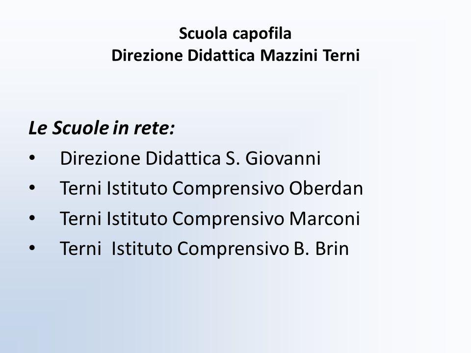 Scuola capofila Direzione Didattica Mazzini Terni Le Scuole in rete: Direzione Didattica S. Giovanni Terni Istituto Comprensivo Oberdan Terni Istituto