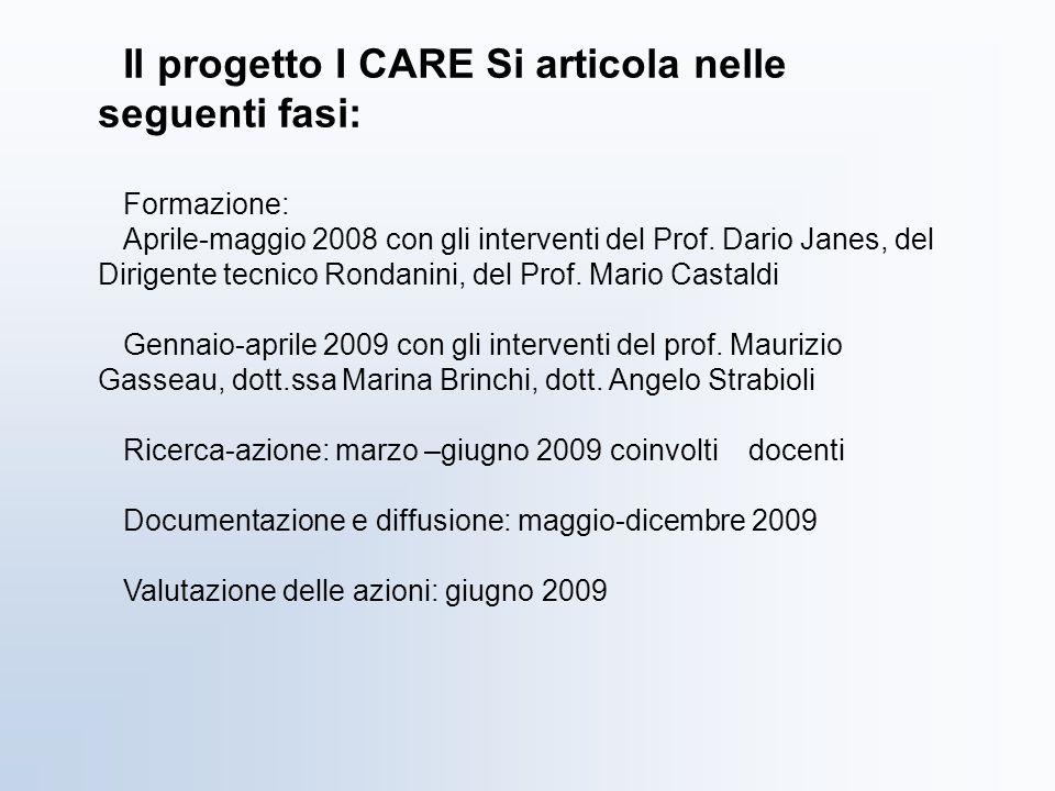 Il progetto I CARE Si articola nelle seguenti fasi: Formazione: Aprile-maggio 2008 con gli interventi del Prof. Dario Janes, del Dirigente tecnico Ron