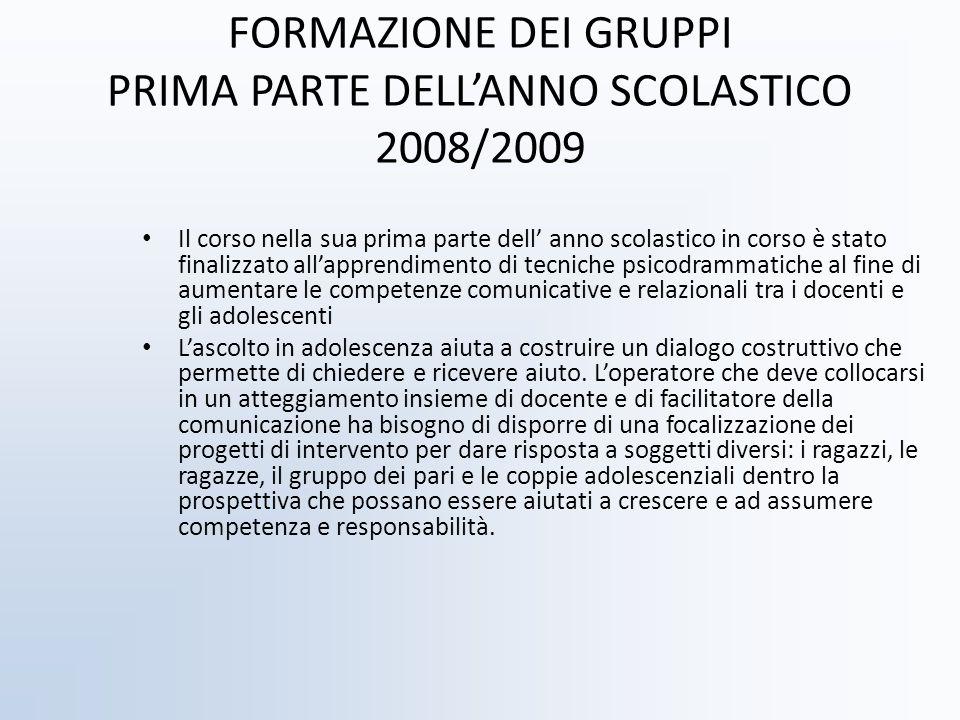 FORMAZIONE DEI GRUPPI PRIMA PARTE DELLANNO SCOLASTICO 2008/2009 Il corso nella sua prima parte dell anno scolastico in corso è stato finalizzato allap