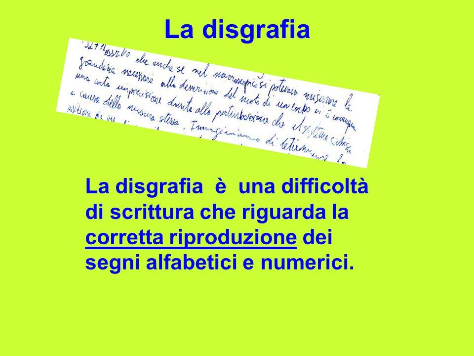 La disgrafia La disgrafia è una difficoltà di scrittura che riguarda la corretta riproduzione dei segni alfabetici e numerici.