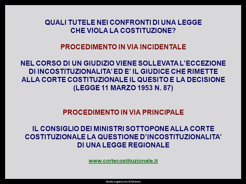 Studio Legale Loro & Partners QUALI TUTELE NEI CONFRONTI DI UNA LEGGE CHE VIOLA LA COSTITUZIONE.