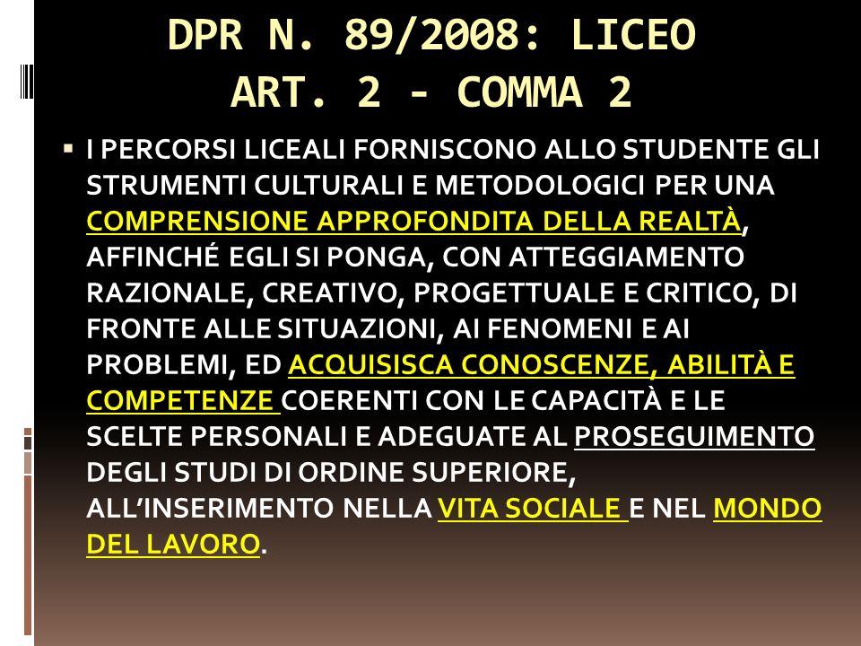 DPR N. 89/2008: LICEO ART. 2 - COMMA 2 I PERCORSI LICEALI FORNISCONO ALLO STUDENTE GLI STRUMENTI CULTURALI E METODOLOGICI PER UNA COMPRENSIONE APPROFO
