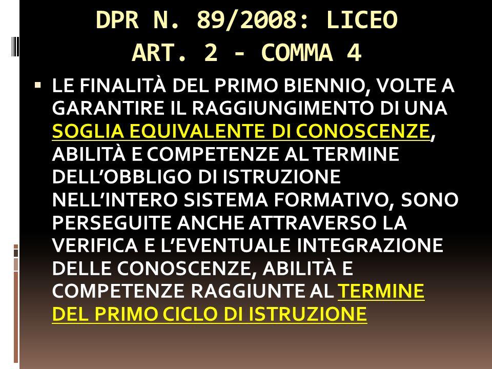 DPR N. 89/2008: LICEO ART. 2 - COMMA 4 LE FINALITÀ DEL PRIMO BIENNIO, VOLTE A GARANTIRE IL RAGGIUNGIMENTO DI UNA SOGLIA EQUIVALENTE DI CONOSCENZE, ABI